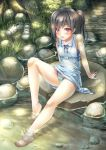 1girl aqua_panties bangs bare_arms bare_legs bare_shoulders barefoot black_hair blush borrowed_character dress ecou feet feet_in_water flat_chest full_body grass hair_over_one_eye highres knee_up knot light_particles light_rays long_hair looking_at_viewer md5_mismatch nature open_mouth original outdoors panties pantyshot pantyshot_(sitting) plant polka_dot polka_dot_dress ponytail red_eyes river rock sandals sandals_removed see-through shizuku_(kantoku) shoes_removed short_dress sitting sitting_on_rock sleeveless sleeveless_dress smile soaking_feet solo stream sunbeam sundress sunlight sweat toes underwear water wet wet_clothes wet_panties