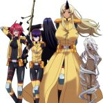 5girls breasts cyclops doppel_(monster_musume) gun heterochromia highres large_breasts manako monster_girl monster_musume_no_iru_nichijou ms._smith multiple_girls nude ogre one-eyed purple_hair redhead rifle short_hair simple_background smile standing stitched stitches tionishia weapon white_hair yellow_eyes zombina