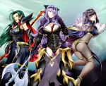 3girls armor ass axe black_hair bodystocking book breasts camilla_(fire_emblem_if) cape cleavage detached_leggings fire_emblem fire_emblem:_kakusei fire_emblem:_souen_no_kiseki fire_emblem_if glowing glowing_weapon gradient gradient_background green_hair magic multiple_girls nintendo prague_(fire_emblem) purple_hair spear tharja weapon yomitrooper