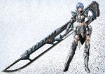 1girl armor blue_hair breasts cleavage huge_sword huge_weapon knight short_hair solo sword weapon