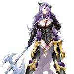 1girl axe breasts camilla_(fire_emblem_if) cleavage fire_emblem fire_emblem_if hair_over_one_eye purple_hair simple_background solo tiara weapon yomitrooper