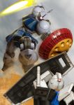 battle energy_sword gradient gradient_background gundam gyan mecha mobile_suit_gundam robographer rx-78-2 shield sword weapon