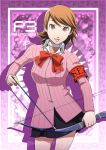 1girl armband arrow artist_name border bow bow_(weapon) bowtie brown_eyes brown_hair cardigan choker daniel_macgregor earrings gradient gradient_background jewelry looking_at_viewer persona persona_3 school_uniform short_hair skirt smile solo takeba_yukari upper_body watermark weapon