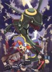 1boy 1girl bicycle clouds dragon fangs haruka_(pokemon) magnemite minun monster nintendo official_art plusle pokemon rayquaza skarmory sky sugimori_ken