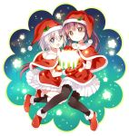 2girls :d :o bangs black_legwear blue_eyes boots brown_eyes capelet christmas commentary_request fur-trimmed_capelet fur_trim glasses grey_hair hat highres holding holly ikeda_chitose kneehighs looking_at_viewer mittens multiple_girls namori open_mouth pantyhose pleated_skirt ponytail red_boots redhead round_glasses santa_costume santa_hat skirt smile snowing sugiura_ayano white_skirt yuru_yuri