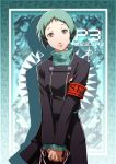 1girl armband blue_hair border brown_eyes daniel_macgregor gradient gradient_background hands_together logo looking_at_viewer persona persona_3 school_uniform short_hair smile solo upper_body yamagishi_fuuka