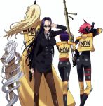 5girls ass black_hair breasts business_suit cyclops doppel_(monster_musume) glasses gun handgun heterochromia highres large_breasts legs long_hair manako monster_girl monster_musume_no_iru_nichijou ms._smith multiple_girls nude ogre one-eyed pistol purple_hair redhead rifle short_hair simple_background skirt smile standing stitched thigh-highs tionishia weapon white_hair yellow_eyes zombina