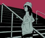 1girl beanie black_eyes black_hair black_shirt hands_in_pockets hat hosoo looking_back monochrome original pink_background rail shirt solo stairs sweater