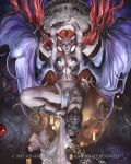 1girl armor arms_up bikini_armor bridal_gauntlets demon_wings final_fantasy grey_skin horns jugemt looking_at_viewer midair mobius_final_fantasy monster_girl navel official_art red_eyes redhead solo square_enix stomach succubus wings