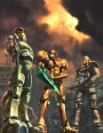 1girl 2boys armor crossover epic gradient gradient_background gun halo_(game) helghast helmet killzone look-alike master_chief metroid microsoft multiple_boys nintendo power_armor power_suit samus_aran sony standing super_smash_bros. trio weapon