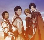 4boys altair_ibn_la-ahad assassin's_creed assassin's_creed_(series) assassin's_creed_ii assassin's_creed_iii assassin's_creed_iv:_black_flag blonde_hair brown_hair cape connor_kenway edward_kenway epic ezio_auditore_da_firenze gradient gradient_background looking_at_viewer multiple_boys short_hair sky standing