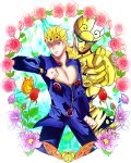 1boy blonde_hair blue_eyes butterfly chouhana clothes_pull earrings flower foreshortening giorno_giovanna gold_experience highres jewelry jojo_no_kimyou_na_bouken jojo_pose ladybug pointing pointing_at_viewer pose rose stand_(jojo)