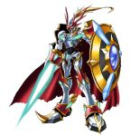 armor bandai cape digimon dukemon dukemon_x full_armor knight monster no_humans official_art polearm royal_knights shield simple_background solo spear weapon