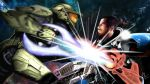 2boys armor commander_shepard commander_shepard_(male) earth epic gradient gradient_background gun halo_(game) helmet mass_effect master_chief multiple_boys power_armor space star weapon