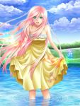 1girl animal bird dress earrings fluttershy green_eyes jewelry long_hair my_little_pony my_little_pony_friendship_is_magic personification pink_hair sky smile standing tree water