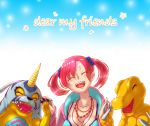 1girl 2boys agumon bandai blue_dress breasts claws cleavage digimon digimon_story:_cyber_sleuth dress fangs female friends gabumon happy horns monster multiple_boys open_mouth redhead shiramine_nokia simple_background smile solo twintails