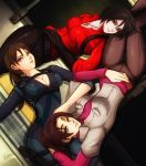 3girls ada_wong black_hair breasts brown_hair capcom claire_redfield cleavage esther jewelry jill_valentine lying multiple_girls necklace resident_evil smile