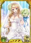 1girl bare_shoulders blonde_hair blue_eyes blush bouquet braid breasts bridal_veil bride card_(medium) cleavage dmm drill_hair earrings female flower gloves jewelry large_breasts long_hair looking_at_viewer necklace nobunaga_wa_ore_no_yome._hime_bushou_1000-ningiri official_art open_mouth simple_background single_braid smile solo standing strapless trading_card veil wedding_dress