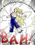 ! 1boy blonde_hair boots dragon_ball dragonball_z earrings gloves green_eyes jewelry long_hair male_focus muscle open_mouth simple_background solo solo_focus super_saiyan super_saiyan_3 teeth tongue torn_clothes vegetto very_long_hair