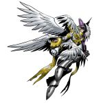 1boy angel angel_wings armor blonde_hair digimon digimon_world_re:digitize flying helmet holyangemon long_hair male_focus multiple_wings official_art shield simple_background solo sword weapon wings