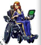 1girl barbara_gordon batman_(series) computer dc_comics glasses gradient gradient_background oracle pen redhead sitting solo wheelchair