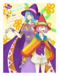 2girls artist_request blue_hair bow breasts cape cloak drawcia dress earrings fingerless_gloves gloves hal_laboratory_inc. hat hoshi_no_kirby jewelry kirby_(series) kirby_canvas_curse kirby_triple_deluxe long_hair looking_at_viewer multiple_girls nail_polish nintendo open_mouth paintra personification pink_hair short_hair shorts simple_background smile touch_kirby! vest yellow_eyes