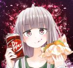 1girl :d ahoge bangs blunt_bangs blush can collarbone dr_pepper eating eyebrows_visible_through_hair fingernails food food_on_face grey_eyes hamburger highres holding holding_can holding_food open_mouth original portrait red-eye_effect ringoanu silver_hair smile