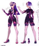 ass bodysuit boots breasts concept_art elbow_gloves gloves headgear high_heels knee_boots legs lips lipstick long_boots long_gloves long_hair long_legs makeup monochrome persephone_(wild_arms_5) purple_hair purple_lips red_eyes skin_tight smile wild_arms wild_arms_5