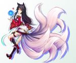 <3 1girl ahri animal_ears bare_shoulders black_hair boots closed_mouth detached_sleeves female fox_ears fox_tail heart high_heels hⅱro league_of_legends long_hair long_sleeves looking_at_viewer magic sleeves_past_wrists smile solo tail traditional_clothes white_background yellow_eyes