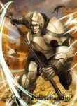 1boy armor armored_boots boots brown_eyes brown_hair castle clouds cloudy_sky company_name faceless faceless_male fire_emblem fire_emblem_cipher fire_emblem_echoes:_mou_hitori_no_eiyuuou full_body gloves grass helmet ippei_soeda knight male_focus official_art polearm rock sky solo spear teeth valbar_(fire_emblem) weapon