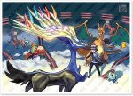 10s calme_(pokemon) charizard froakie game_freak gradient gradient_background hawlucha official_art pokemon pokemon_(game) pokemon_xy sugimori_ken team_flare xerneas