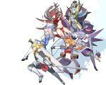 1boy 5girls armor arrow blonde_hair blue_hair cat crusaders_quest d'artagnan_(crusaders_quest) dorothy_(crusaders_quest) gradient gradient_background hat huge_sword knight kriemhild_(crusaders_quest) kumiko_(aleron) leon_(crusaders_quest) long_hair maria_(crusaders_quest) multiple_girls pointy_ears sigruna_(crusaders_quest) sword weapon witch witch_hat