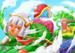1girl 2boys artist_request blue_eyes blue_hair cape chasing clenched_teeth clouds crown dark_skin fangs genderswap gloves horns kidnapped kidnapping king_dedede kirby kirby_(series) kirby_triple_deluxe looking_back multiple_boys net nintendo open_mouth personification pink_hair short_hair silver_hair smile spider_web taranza teeth violet_eyes