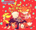 1boy bear bigbang camerupt earrings fingerless_gloves gloves jacket jewelry lillipup lion male_focus monkey patch poke_ball pokemon pyroar running simisear simple_background solrock taeyang teddiursa
