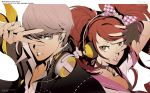 1boy 1girl bow breasts brown_eyes brown_hair choker cleavage fingerless_gloves gloves grey_eyes hair_bow headphones kujikawa_rise lipstick makeup narukami_yuu official_art open_collar parted_lips persona persona_4 persona_4:_dancing_all_night pink_lipstick silver_hair simple_background soejima_shigenori twintails v
