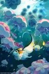 bluekomadori chinchou fins glowing jellicent pokemon pokemon_(game) sunlight swimming underwater vaporeon