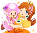 2girls blue_eyes blush brown_hair crown dress flower gloves haniwa_(8241427) hug jewelry multiple_girls nintendo open_mouth pink_eyes pink_hair princess_daisy short_hair simple_background smile super_mario_bros. toadette twintails white_background wink