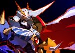 armor artist_name bandai cape digimon full_armor gradient gradient_background helmet horns male_focus mecha monster no_humans omegamon orange_eyes royal_knights solo spiked tomycase
