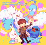 1boy altaria bigbang daesung jacket lapras male_focus nosepass open_mouth patch poke_ball pokemon simple_background skitty smile swirlix togetic