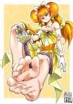 1girl amanogawa_kirara barefoot cure_twinkle earring feet feet_together gloves go!_princess_precure jewelry magical_girl multicolored_hair orange_hair pov_feet precure redhead simple_background star toes twintails yuzu_gin_(pika97)