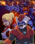 1boy 1girl 70s artist_name blonde_hair blue_eyes copyright_name cosplay crowley_hamon facial_hair gouf gradient gradient_background great_mazinger gundam hair_bun mazinger_z mecha mobile_suit_gundam mustache oldschool oprince parody pilot_suit ramba_ral short_hair translated