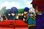 1girl 4boys :3 armor blue_hair car fire_emblem fire_emblem:_kakusei fire_emblem:_monshou_no_nazo fire_emblem:_souen_no_kiseki fire_emblem:_the_binding_blade fire_emblem_awakening fire_emblem_fuuin_no_tsurugi fire_emblem_heroes fire_emblem_mystery_of_the_emblem fire_emblem_path_of_radiance fire_emblem_sword_of_seals great_grandfather_and_great_granddaughter ground_vehicle ike ike_(fire_emblem) intelligent_systems long_hair lucina lucina_(fire_emblem) male_my_unit_(fire_emblem:_kakusei) marth marth_(fire_emblem) motor_vehicle multiple_boys my_unit my_unit_(fire_emblem:_kakusei) nintendo project_m redhead reflet robin_(fire_emblem) robin_(fire_emblem)_(male) roy_(fire_emblem) serious short_hair smile sora_(company) sunglasses super_smash_bros. super_smash_bros._ultimate super_smash_bros_brawl super_smash_bros_for_wii_u_and_3ds super_smash_bros_legacy_xp super_smash_bros_melee white_hair