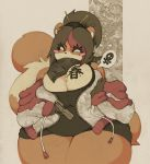1girl breasts cleavage fat furry gun huge_breasts niu_mei_tiao original red_panda smutbunny solo thick_thighs weapon wide_hips