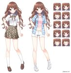 1girl :d :o ^_^ bangs blue_jacket blush breasts brown_footwear brown_hair brown_skirt closed_eyes closed_mouth collared_shirt crop_top denim denim_shorts dress_shirt expressions eyebrows_visible_through_hair jacket loafers long_hair mauve midriff multiple_views navel official_art open_clothes open_jacket open_mouth original parted_lips pink_shirt plaid plaid_jacket plaid_skirt pleated_skirt red_eyes school_uniform shirt shoes short_shorts short_sleeves shorts simple_background skirt small_breasts smile socks standing torn_clothes torn_shorts v-shaped_eyebrows very_long_hair watermark white_background white_footwear white_legwear white_shirt white_shorts
