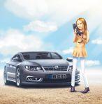 1girl blonde_hair blue_sky car cat clouds dekus dress ground_vehicle motor_vehicle simple_background sky smile sunlight sunny volkswagen