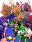 andross blue_eyes blue_hair cosplay eyepatch falco_lombardi fox_mccloud furry green_eyes james_mccloud jewelry krystal leon_powalski long_hair necklace necktie nintendo peppy_hare red_eyes slippy_toad star_fox suit sunglasses wolf_o'donnell