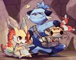 angry bow bowtie chingling dewott dirty eulette fang fennekin injury no_humans pokemon pokemon_(game) poster side_bag smile tail topknot twin_braids