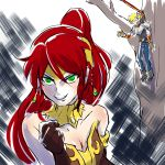 1boy 1girl armor bare_shoulders blonde_hair breasts choker cleavage clenched_hand corset death_note gloves green_eyes grin hair_between_eyes iesupa jaune_arc jewelry just_as_planned long_hair naughty_face pants parody ponytail pyrrha_nikos redhead rwby short_hair smile spear strapless tiara tree upper_body
