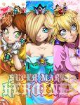 3girls blonde_hair brown_hair crown dress isamu-ki_(yuuki) jewelry long_hair multiple_girls nintendo princess_daisy princess_peach rosetta_(mario) short_hair smile super_mario_bros. super_mario_galaxy super_mario_land