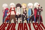 2girls 4boys akumey black_hair blonde_hair chibi choker claws cravat curtained_hair dante_(devil_may_cry) devil_may_cry devil_may_cry_3 devil_may_cry_4 dual_persona everyone flower glowing glowing_hand gun hood hoodie jacket katana lady_(devil_may_cry) midriff mouth_hold multiple_boys multiple_girls nero_(devil_may_cry) open_collar rose simple_background skirt sword trish_(devil_may_cry) vergil weapon white_hair